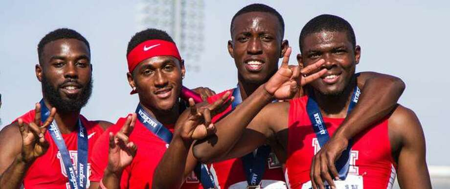 The Houston 400-meter relay team of (from left) Cameron Burrell, LeShon Collins, Mario Burke and Jacarias Martin won the silver medal at the NCAA Championships, setting a school record with a time of 38.44. Photo: UH Athletics Media Relations
