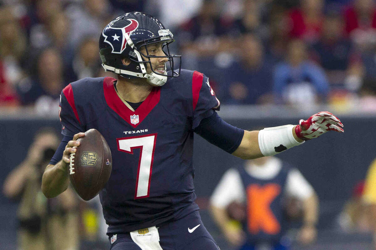 Houston Texans quarterback Brian Hoyer drops back to pass during the second half on an NFL game Sunday Nov. 1, 2015 in Houston.