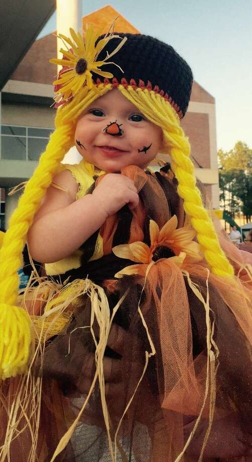 FIRST PLACE: Congratulations to Lakyn for claiming the top spot in the Advocate/Dayton News Halloween Costume Contest. With 760 Facebook likes, she handily won first place for her scarecrow costume. Photo: Submitted
