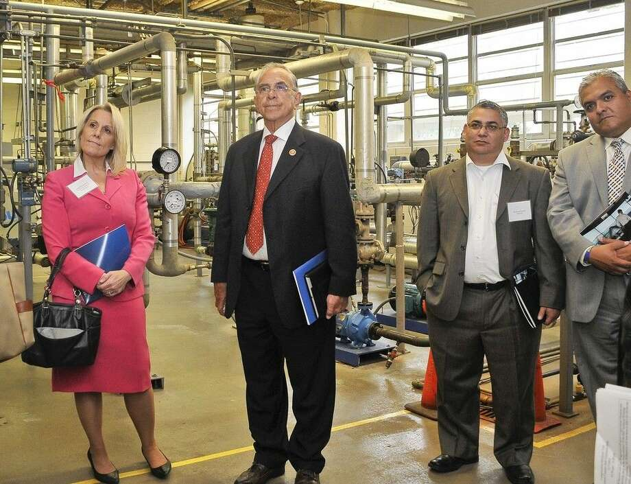 Congressman Rubén Hinojosa (TX-15) recently visited the San Jacinto College Central Campus, touring the instrumentation and pilot plant labs, along with the state-of-the-art transportation center, to get a first-hand look at these workforce training programs. Pictured left to right: Lisa Woodward, vice president of nursing education, Doctors Hospital at Renaissance; Congressman Rubén Hinojosa; Narciso Garcia, deputy superintendent, Pharr-San Juan-Alamo Independent School District; and Ruben Cortez, member, Texas State Board of Education, South Texas Region. Photo credit: Andrea Vasquez, San Jacinto College marketing, public relations, and government affairs department.