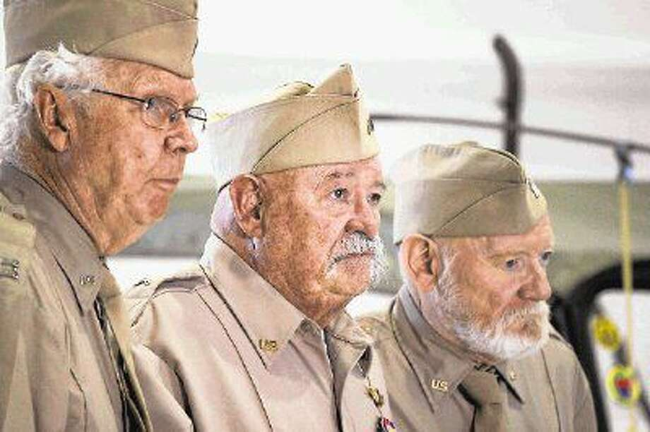 "James MacKrell, left, stars with Richard Riehle and William Morgan Sheppard in ""Last Man Club"", a film about a group of World War II veterans and the pact they made."