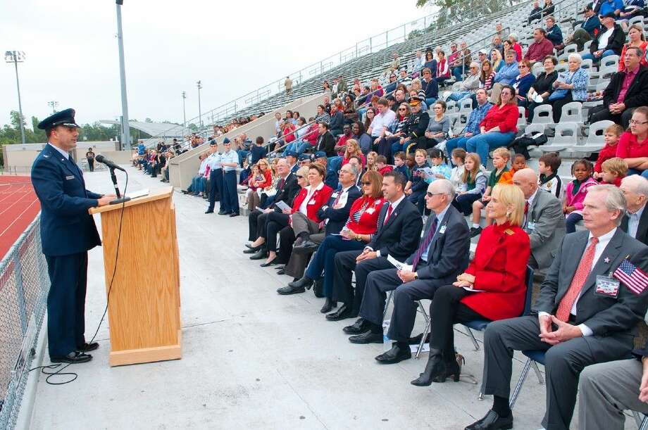 Veterans Day guest speaker Col. Thomas Konicki speaks to the veterans and those who attended the 14th annual Klein ISD Veteran Celebration on Tuesday, November 11, 2014. Photo: Tony Gaines