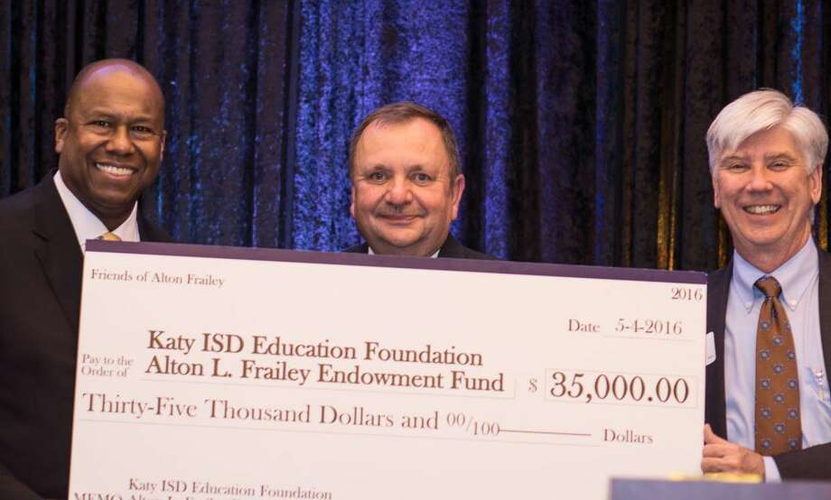 Katy ISD Superintendent Alton Frailey with members of the Katy ISD Education Foundation. The foundation recently established Alton Frailey Endowment Fund to honor the retiring superintendent. Photo: Maria Corrales