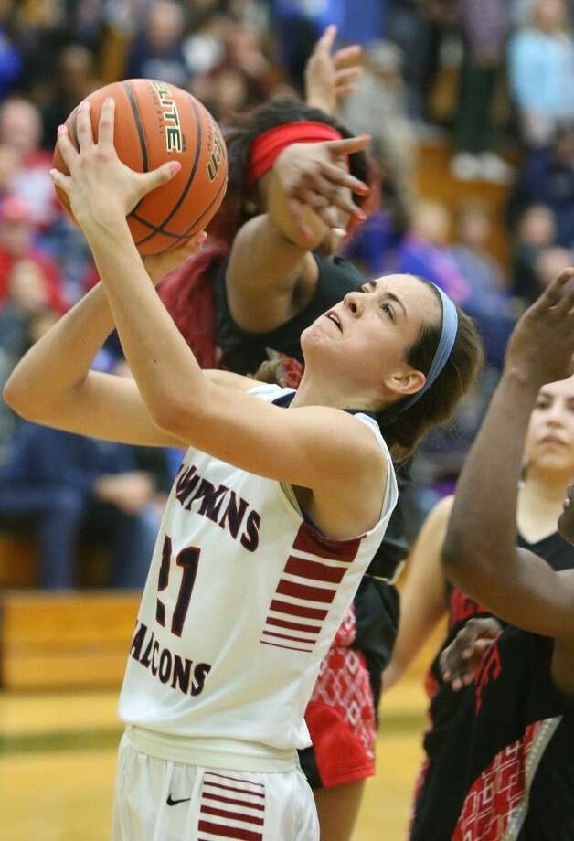 Kendall Rollins and Tompkins made the playoffs in their first varsity season. The Lady Falcons defeated Bellaire 63-62 in double overtime in their first postseason appearance. Photo: HCN File Photo