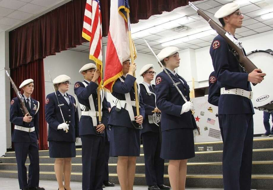 The Coldspring-Oakhurst High School AFJROTC presented the Colors at the CIS Veterans Assembly on Tuesday, Nov. 11. Photo: Cassie Gregory