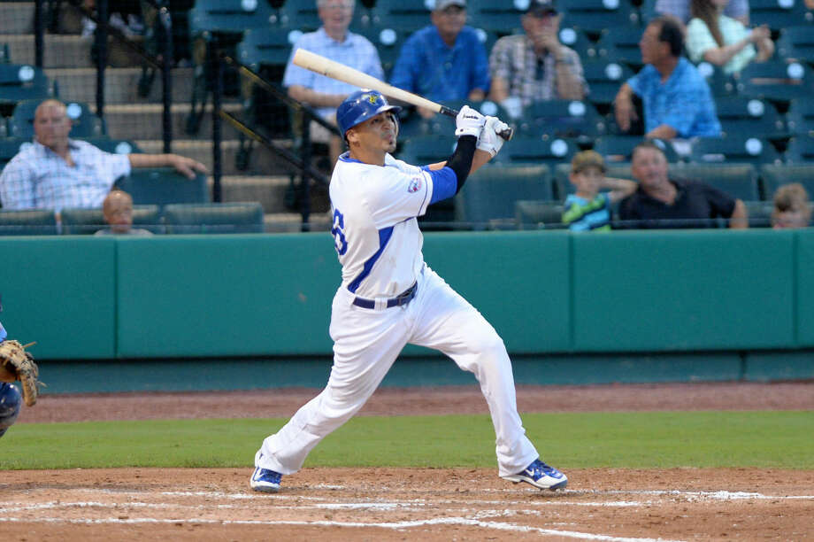 Jeff Dominguez hit one of four home runs for the Sugar Land Skeeters in a 13-4 rout of Lancaster, June 18 in Pennsylvania. The Skeeters begin at three-game series at New Britain tonight. View additional photos at HCNPics.com. Photo: Craig Moseley