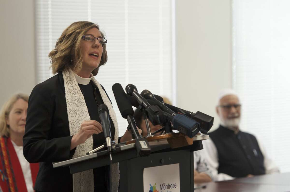 Lutheran reverend and lead community relations specialist or The Montrose Center Lura Groen calls upon other faith leaders Monday to take a stand against hatred, which she said motivated the Orlando attack.