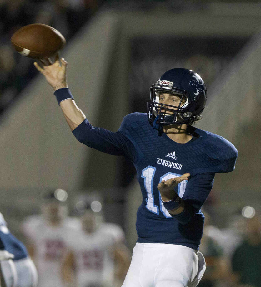 Kingwood quarterback Dawson Trudell throws a pass during the second half of a District 16-6A football game November 5, 2015, in Humble. To view or purchase this photo and others like it, visit HCNpics.com. Photo: Jason Fochtman