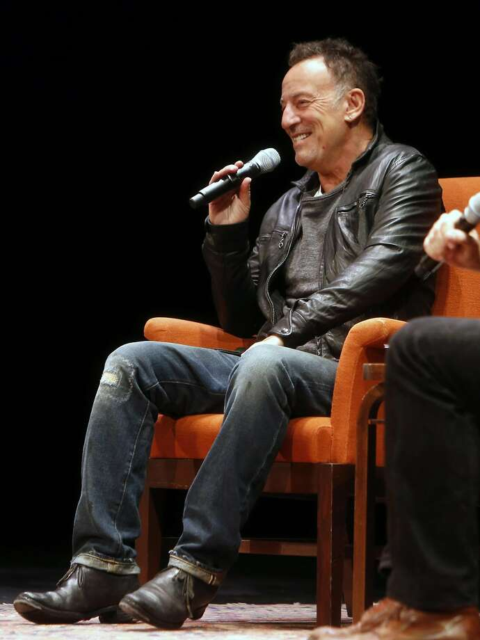 "Bruce Springsteen talks about his book ""Born to Run"" with Dan Stone during event at Nourse Theater in San Francisco , Calif., on Wednesday, October 5, 2016. Photo: Scott Strazzante, The Chronicle"