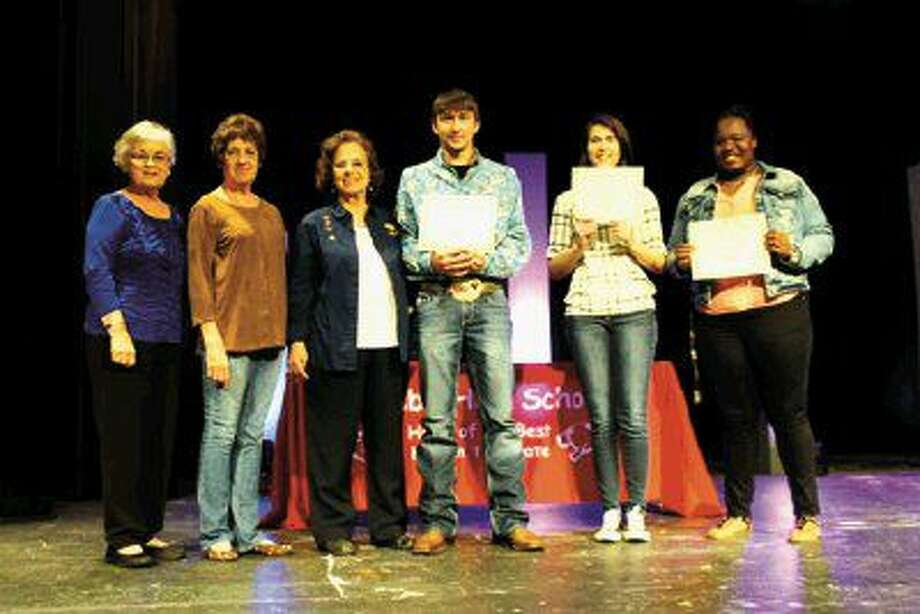 Pictured from left to right are committee members Patsy Svrcek Spitsmiller, Bonnie Leissner James and Joyce Polka Boyles and scholarship recipients Jeffrey Armstrong, Cayla Guillory and Linda Hughes.