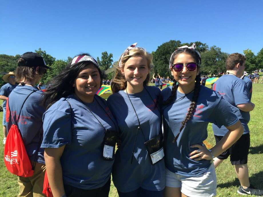 Magnolia High School cosmetology students, pictured from left, Anahi Rubio, Lauren Decoux and Misty Wunsch attended the SkillsUSA Texas Summer Leadership Conference at MO Ranch in Hunt, Texas from June 5 to June 9. Photo: MISD