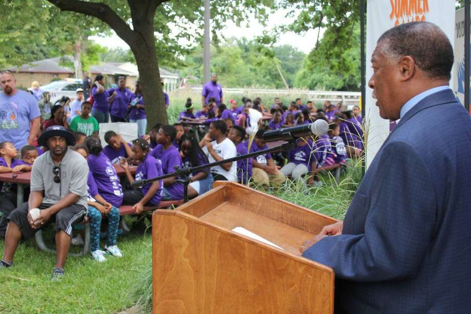 Harris County Precinct 1 Commissioner Gene L. Locke at the kickoff of the 30th anniversary of the Harris County Street Olympics' Summer Games. Photo: Submitted Photo