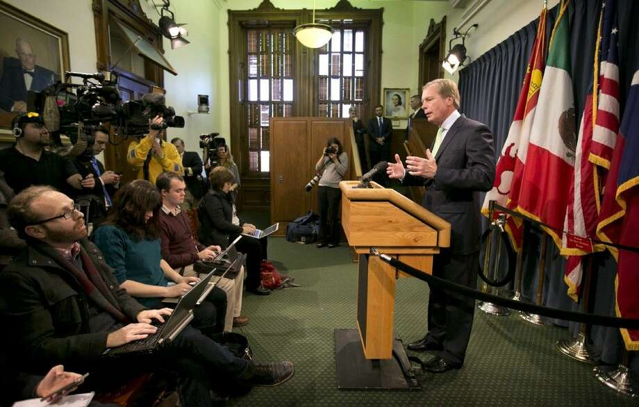 Outgoing Texas Lt. Gov. David Dewhurst addresses reporters during a news conference at the Capitol in Austin, Texas, Wednesday. Nov. 19, 2014. Dewhurst said Wednesday that a mix of additional state troopers and technology will replace the Texas National Guard that deployed to the Rio Grande Valley this summer. State leaders want to spend an extra 86 million to keep an elevated presence on the border through August.