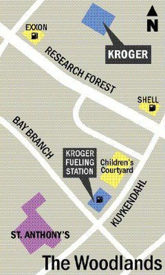 This map shows the location of the Kroger Fueling Station, the Kroger Grocery store off Research Forest and St. Anthony of Padua Catholic Church in The Woodlands.