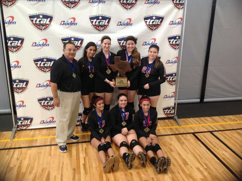 Faith Christian Academy's varsity volleyball team captured the Texas Christian Athletic League's (TCAL) Class 1A state title last weekend. In terms of games, the team went 9-1 against two regional champs and one runner-up to give the school its first volleyball state title since 1997. Photo: Courtesy Photo