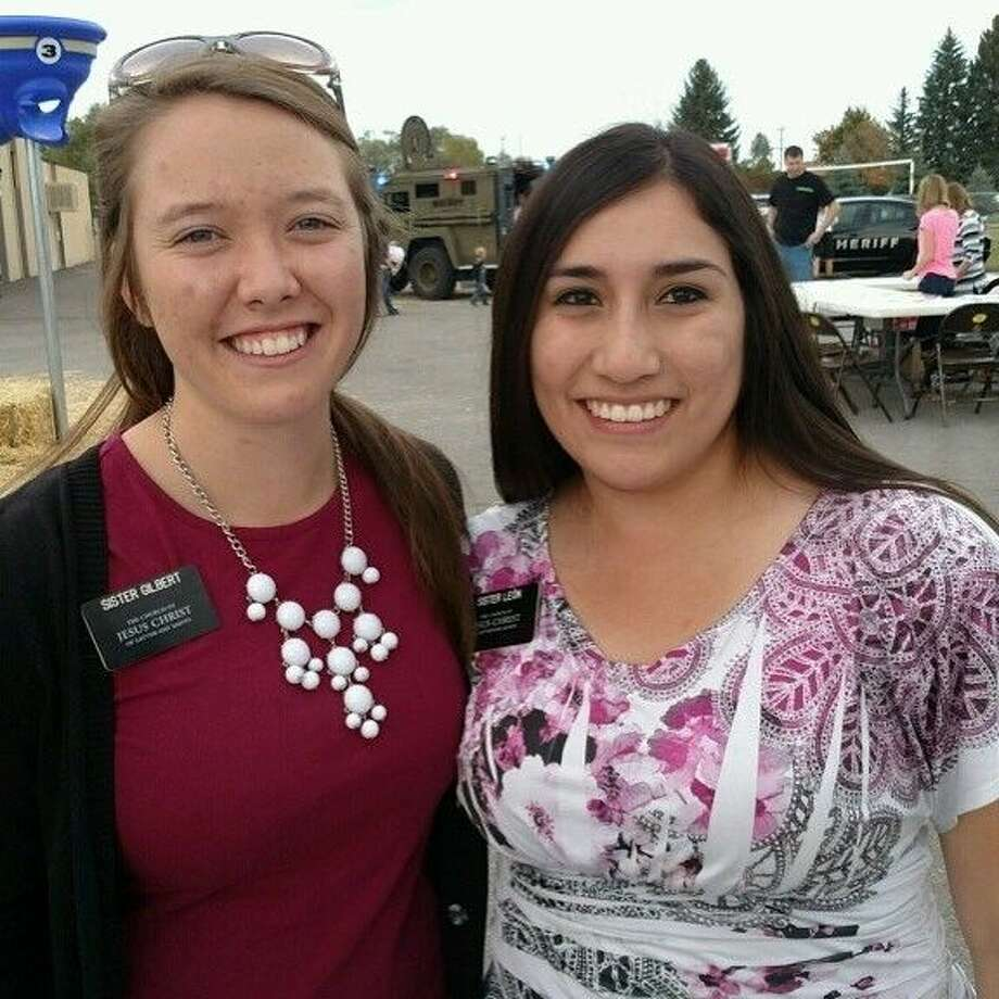 On the right Sister Yudeth Leon in Pocatello, Idaho with her mission companion Sister Gilbert.