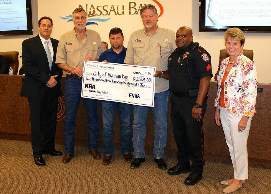At the regularly scheduled Nassau Bay City Council meeting held on June 13, 2016, members of the NRA Foundation, Inc. presented a check in the amount of 2568.00 to City Council and the Police Department to assist with the costs of providing a uniform sidearm for all officers.