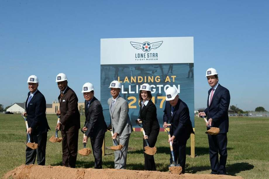 Members of the the new museum's board break ground at the new site for the Lone Star Flight Museum, scheduled to open at the beginning of 2017.