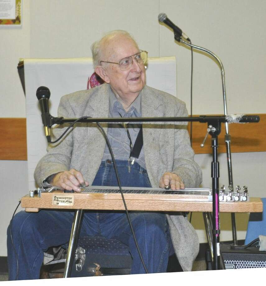 "Herb Remington, the ""Steelmaster"" of all steel guitar players performed to the delight of the Prime Timers at the show which is a monthly event at the First United Methodist Church."