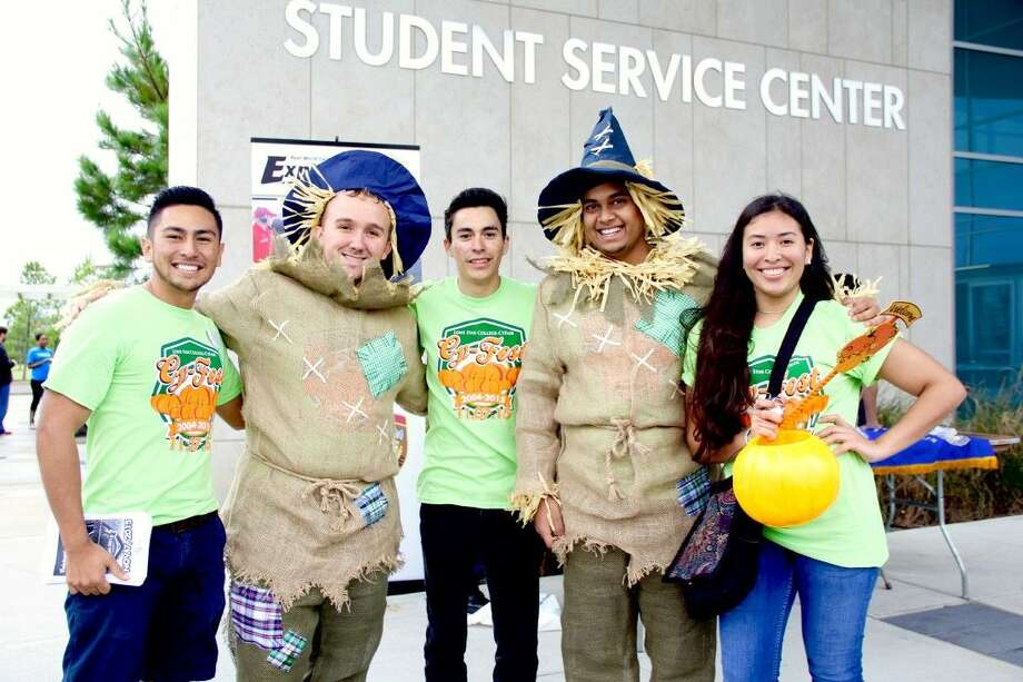 From left are LoneStar College-CyFair students Jesus Jaimes (Cru), Kody Kitchen (Honors College), Edgar Espinosa, Henil Shah (Honors College), and Dinora Monge (Honors College). Photo: Vagney Bradley