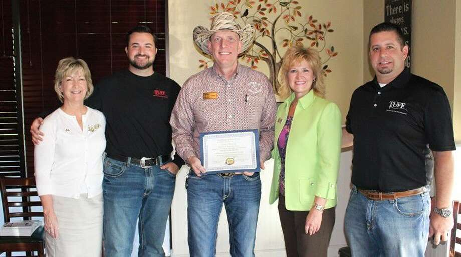 MPCC Chairman Candy Emmerich of First Financial Bank, Brian Gremminger of Texans United For Freedom, Chris O'Rourke of Outback Western Wear, MPCC President Kelly Hamann, and Jason Rinn of Texans United For Freedom. Photo: Submitted Photo