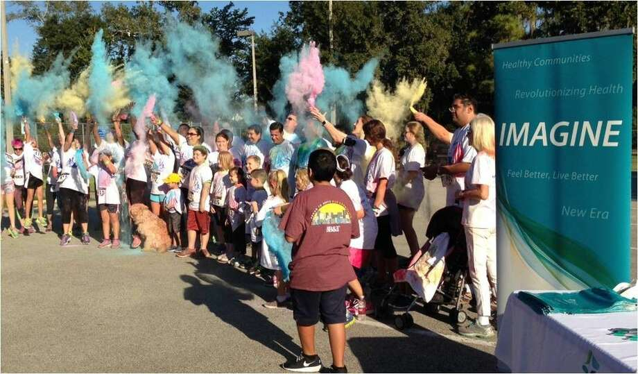 The start of the 2015 Color the Creek Fun Run was the beginning of the flying colors. Photo: Submitted Photo