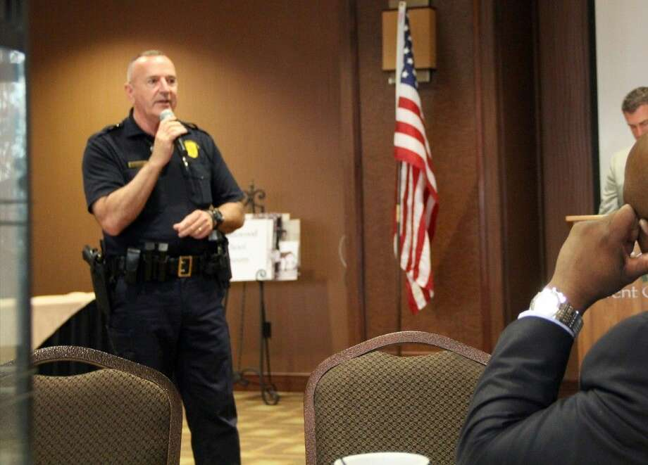 Friendswood Police Chief Bob Wieners served as guest speaker at the Friendswood Chamber of Commerce Monthly Membership Luncheon Thursday (Nov. 5). Photo: Kristi Nix