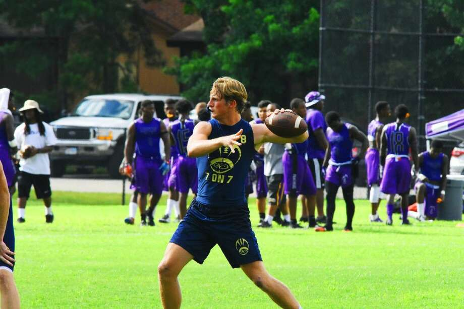 Klein Collins quarterback Bryson Powers fires a pass in Monday's Woodlands State Qualifying 7-on-7 Tournament. Powers is garnering praise from the Tigers' coaching staff for his heady intellect rapid mastery of the Klein Collins playbook. Photo: Tony Gaines