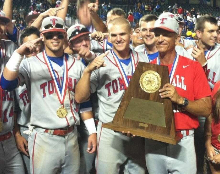 Tomball head coach Doug Rush (right) was named the Class 4A Coach of the Year by the Texas Sports Writers Association for 2013. Cougars outfielder Nick Banks (left) was named the Player of the Year, and first baseman Dillon Menville (center) was named First Team All State. Banks was selected by the Photo: David Fanucchi