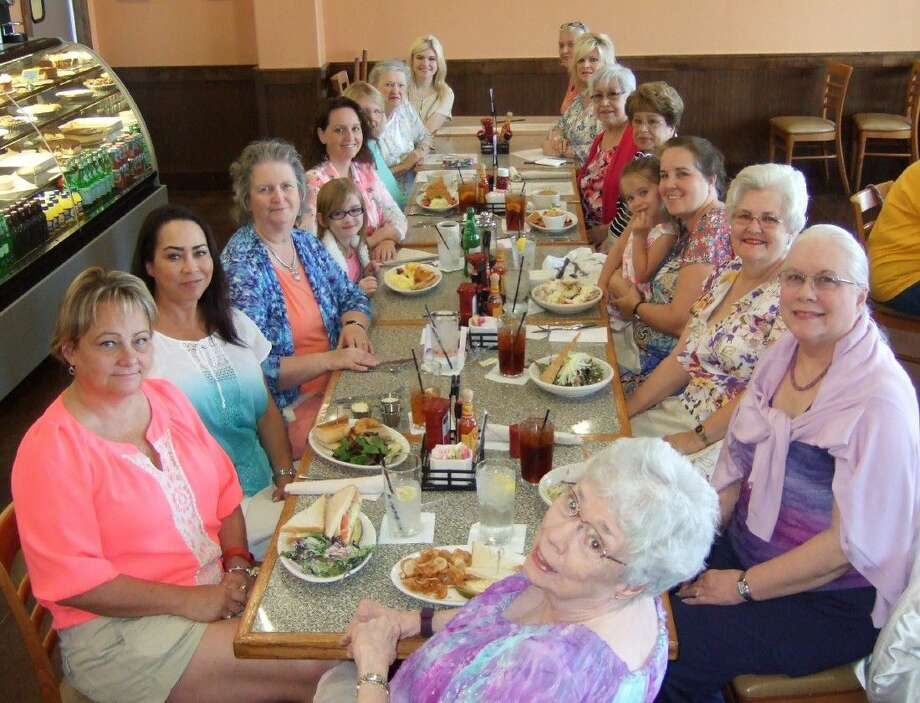 Pictured at luncheon are: Front seat Dian Thomasson of Alvin: (left to right) Laurie Rudek of Pearland; Katy Cherry of Marble Falls; Diana Embrey of Friendswood; Elizabeth Schroeder of Pearland; Crystal Schroeder of Pearland; Judy Hotman of Pearland; Marlene Broome of Friendswood; Whitney Evans of Friendswood; Christy Freese of Friendswood; Traci Evans of Friendswood; Loraine Gomez of Friendswood; Julie Hoover of Houston; Skylar Vance of Pearland; Kathy Vance of Pearland; Linda Abbott of Friendswood and Diane Gordy of Houston.