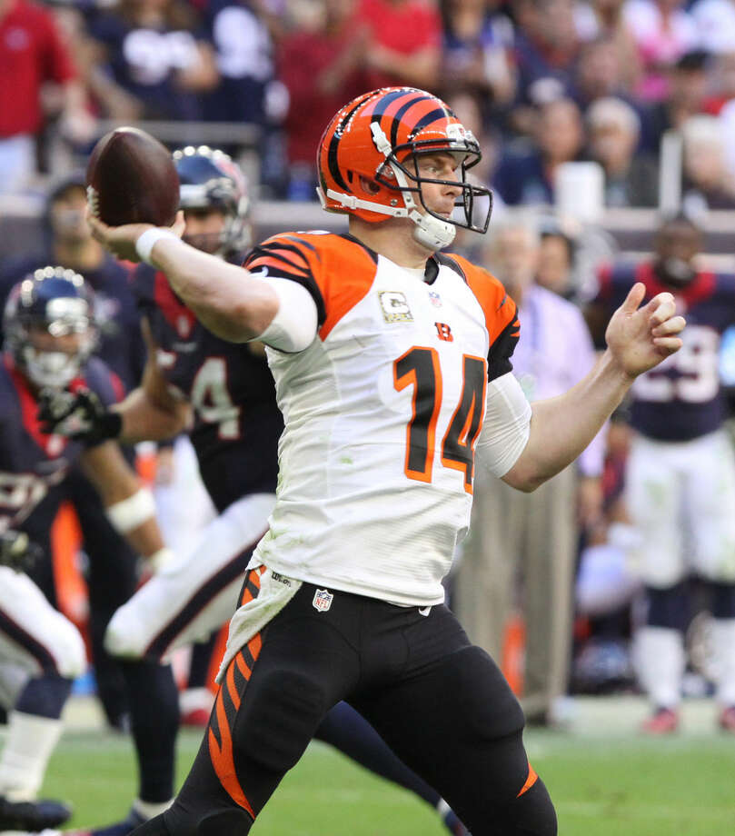 Cincinnati Bengals Andy Dalton throws at NRG Stadium in Houston, Texas on Sunday, November 23, 2014. Photo: Staff Photo By Alan Warren