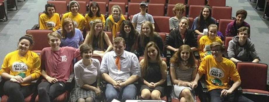 Cypress Woods students in Thespian Troupe No. 7050 participate in the Trick or Treat so Kids Can Eat campaign. Pictured (front row, L-R) are: Maddy Portalatin, Jens Sloeveren, Amanda Ruiz, Robbie Littlefield, Gea Butignol, Kira Schwarz and Austin Hoeft; (second row, L-R) Ali Wine, Madison Friedhoff, Anisha Bhatia, Ashlyn Manuel, Christian Spiers, Cameron Hill and Finn Adams; and (back row, L-R) Celeste Tidwell, Brett Rose, Emily Chang, Ashlyn Maddox, Sam Hackett, Riley Burke, Bailor Allen and JC Nigh.