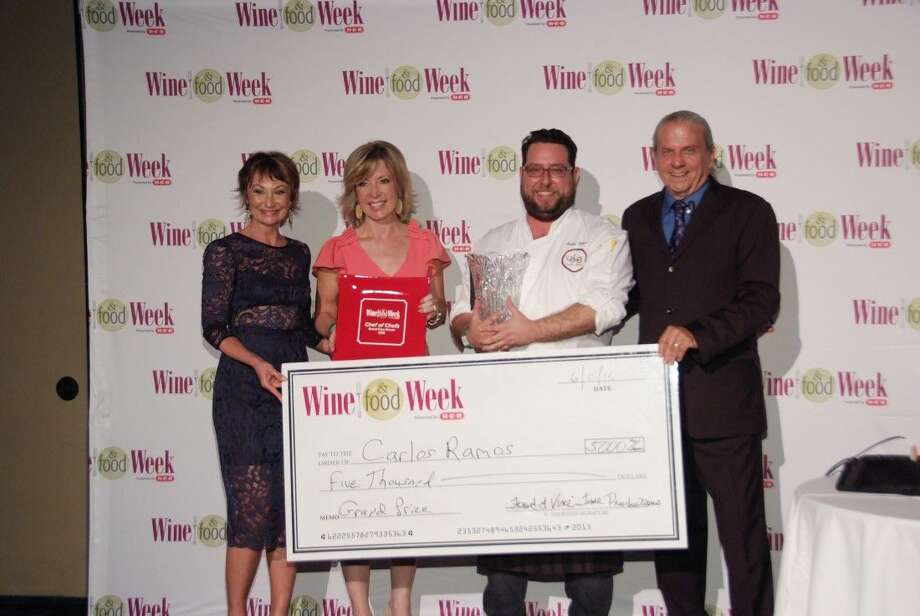 Pictured from left to right at last week's Wine and Food Week in The Woodlands are Wine and Food Week co-founder Constance McDerby, HCN columnist Tanji Patton, Carlos Ramos, executive chef of Latin Bites winner of the 2016 Chef of Chefs Award and Wine and Food Week co-founder Clifton McDerby.