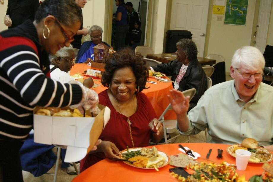 Senior citizens at the 3-H Service Center in Bordersville were all smiles as they were treated to plates full of turkey, gravy and all of the sides as a part of their annual Thanksgiving luncheon on Nov. 24, 2014.