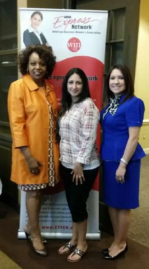 Pictured from left are Lone Star College-CyFair President, Dr. Audre Levy, Angela Lopez, scholarship recipient, CYFEN President, Jessica Smith. Photo: Photo Courtesy Of CYFEN