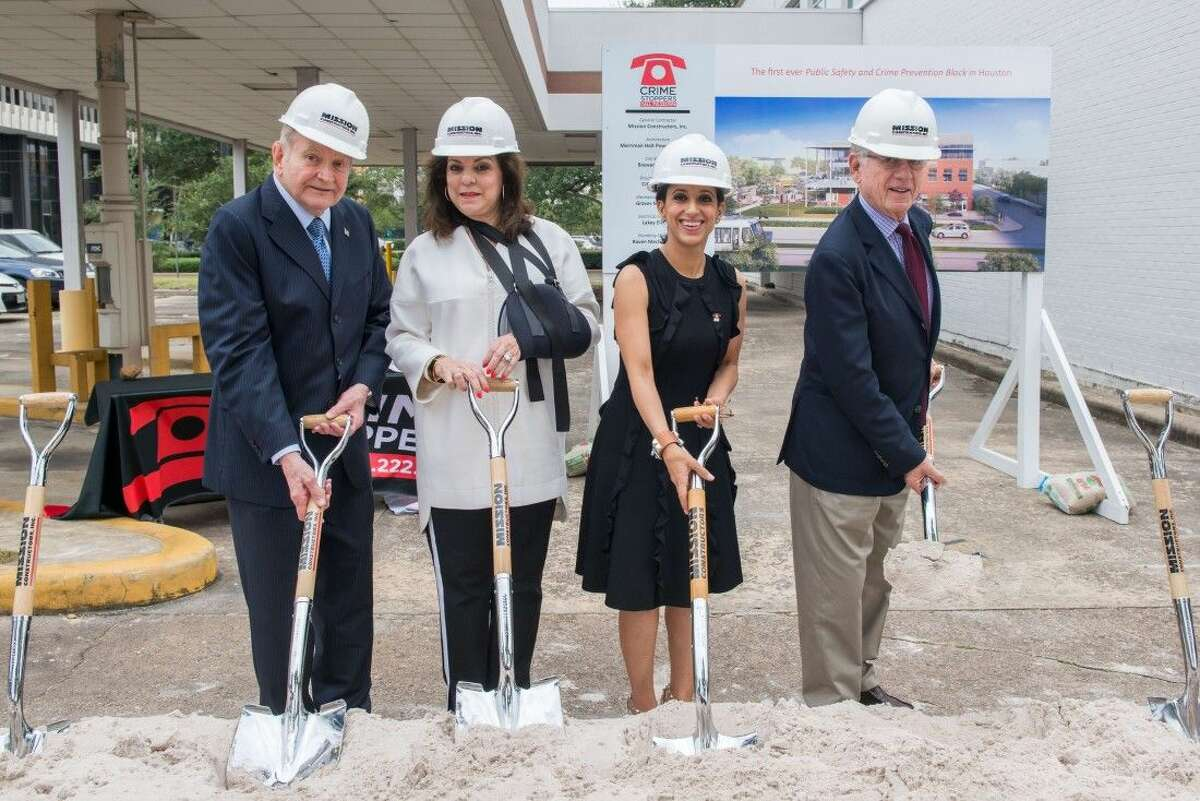 L to R: Dave Ward, Laura Ward, Rania Mankarious, Ted Koppel. Crime Stoppers breaks ground for their new building named in honor of media icon Dave Ward.