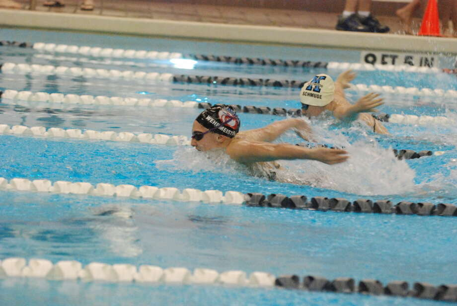 Sarah Wehrmeister swimming the butterfly in the Individual Medley during a recent Atascocita Swim Meet.