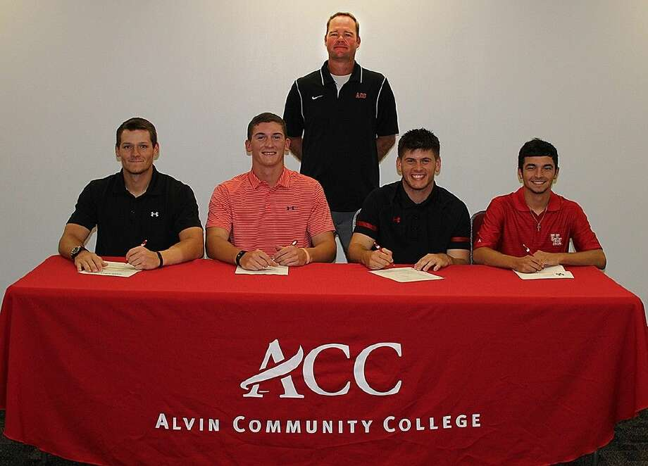ACC baseball players joined Head Coach Jason Schreiber, back, in signing letters of intent. The players are, from left: first baseman Dakota Phillips with University of New Orleans; pitcher and first baseman Blake Chisolm with Sam Houston State; pitcher Mark Hammel with Sam Houston State University and pitcher Joey Pullido with the University of Houston.