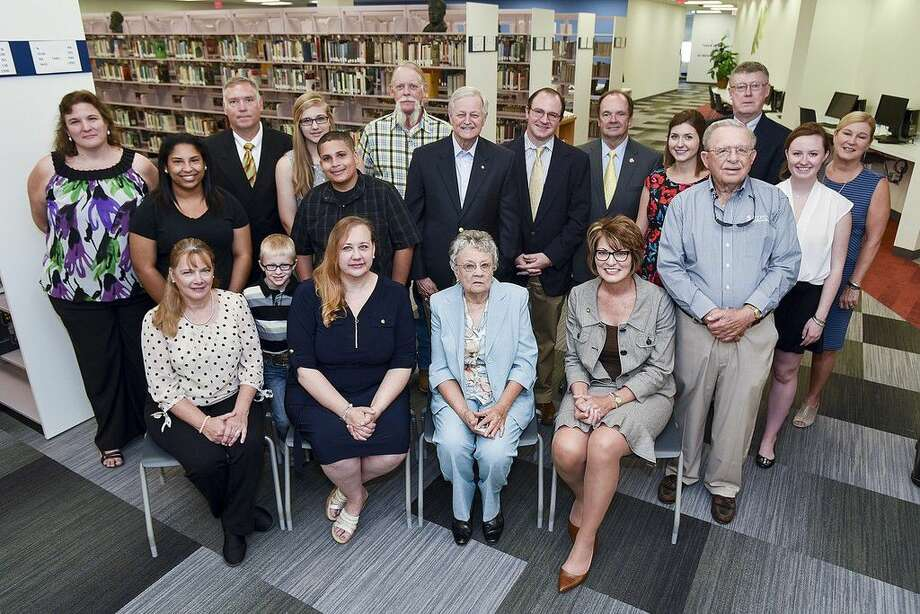 Members of the Lehr family, elected officials, and San Jacinto College administration were on hand for the grand reopening of the Lehr Library at the San Jacinto College North Campus. Pictured, from left (front row): Lynda Cobler, Ty Rogers, Holly Jones, and Dovie Lehr (relatives of the late Dr. Edwin Lehr), San Jacinto College Chancellor Dr. Brenda Hellyer, and San Jacinto College Trustee Dr. Ruede Wheeler; (back row): Lyn Garner (North Campus library director), Shayla Smith, Tommy Webb, Emma Jones, Curtis Smith, and Garry Cobler (Lehr family); Dr. Charles Grant (former North Campus president), Will Miller (Southeast Texas Deputy Director, U.S. Senator Ted Cruz), La Porte Mayor Louis Rigby, Lauren Laake (Chief of Staff, Houston City Councilman Dave Martin), San Jacinto College North Campus Provost Dr. Bill Raffetto, Jordan McGinty (Intern, Houston City Councilman Dave Martin), and Ruth Keenan, San Jacinto College Foundation executive director. Photo credit: Rob Vanya, San Jacinto College marketing, public relations, and government affairs department.
