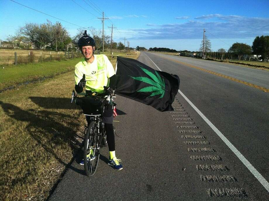 William Mueller is making a 4,200-mile bicycle tour to help build support for legalizing cannabis. He started out Nov. 1 from St. Augustine, Fla., and had reached Dayton, Texas, by mid-afternoon Monday, Nov. 24. Photo: Casey Stinnett