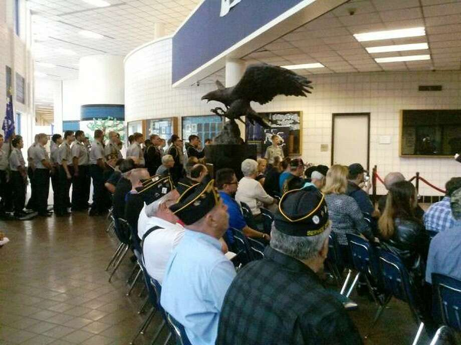 Veterans, community members and students witness New Caney High School's Veterans Day celebration on Wednesday, Nov. 11, 2015.
