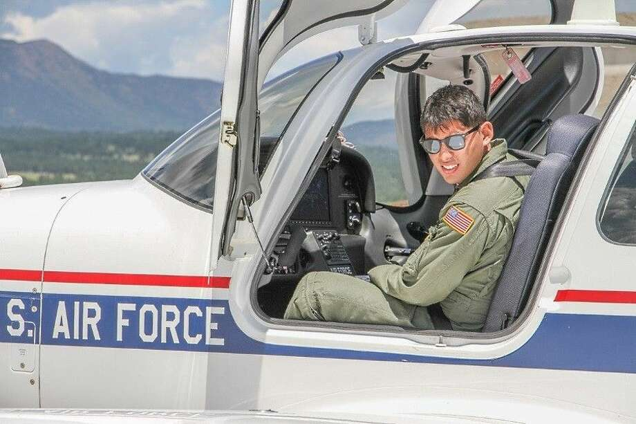Fourth-year cadet, Justin Malone, during flight training at the U.S. Air Force Academy.