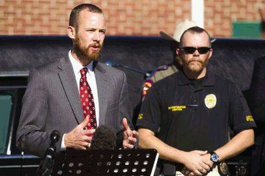 "Montgomery County Assistant District Attorney Tyler Dunman, chief of the vehicular crimes division, advises during Tuesday's press conference to plan ahead for ""no refusal"" efforts on county roadways. Photo: Jason Fochtman"