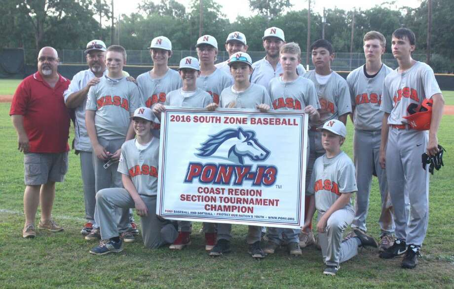 The first of perhaps several Pony banners were unfurled for the NASA-Orange 13s Monday night after their 11-1 win. Photo: Robert Avery