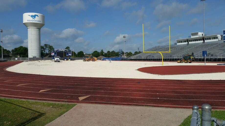 Work to replace the turf at Henry Winston Stadium began Wednesday. Expected date of completion is on or before Aug. 1. Photo: Ted Dunnam