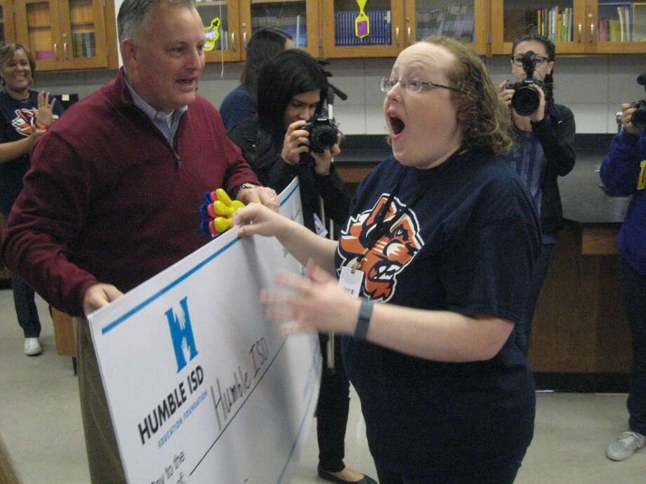 One of the grants Ross Sterling Middle School received was for a 3D printer, which came as a surprise for the teacher, during the fall Humble ISD Education Prize Posse grant giveaway Nov. 13, 2015.