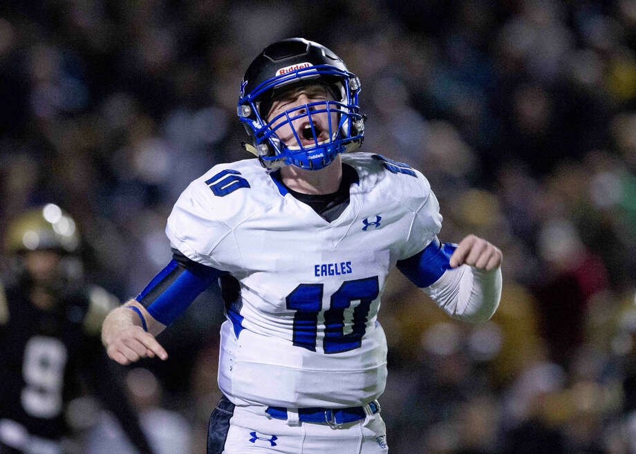New Caney quarterback Timmy Ware reacts after being called for a delay of game in the third quarter of a Class 5A-DI bi-district playoff football game Saturday, Nov. 14, 2015, in Beaumont. To view or purchase this photo and others like it, visit HCNpics.com. Photo: Jason Fochtman