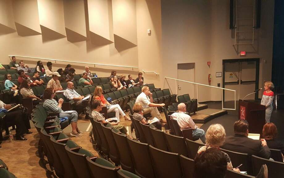 "Sally McMillen, professor at Davidson College and author of ""Seneca Falls and the Origins of the Women's Rights Movement"" answers audience questions after delivering her speech at the Lone Star College-Kingwood fourth annual History Day Conference at the campus' Performing Arts Center Thursday, June 23."