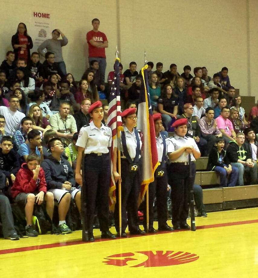 The nation's colors were presented by members of the CHS AFJROTC during the Cleveland Middle School Veterans Day Program on Friday, Nov. 13. Photo: Stephanie Buckner