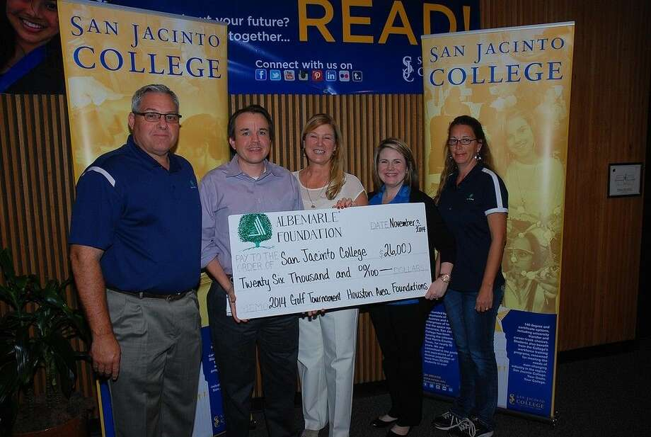 The Albemarle Foundation donated 26,000 to the San Jacinto College Foundation in support of student scholarships. Pictured, left to right: Paul Chapman and Jason Bevan, Albemarle; Ruth Keenan, executive director, San Jacinto College Foundation; Hannah Stephens Albemarle; and Tonya Sandefer, president, Albemarle Foundation. Photo credit: Amanda L. Booren, San Jacinto College marketing, public relations, and government affairs.